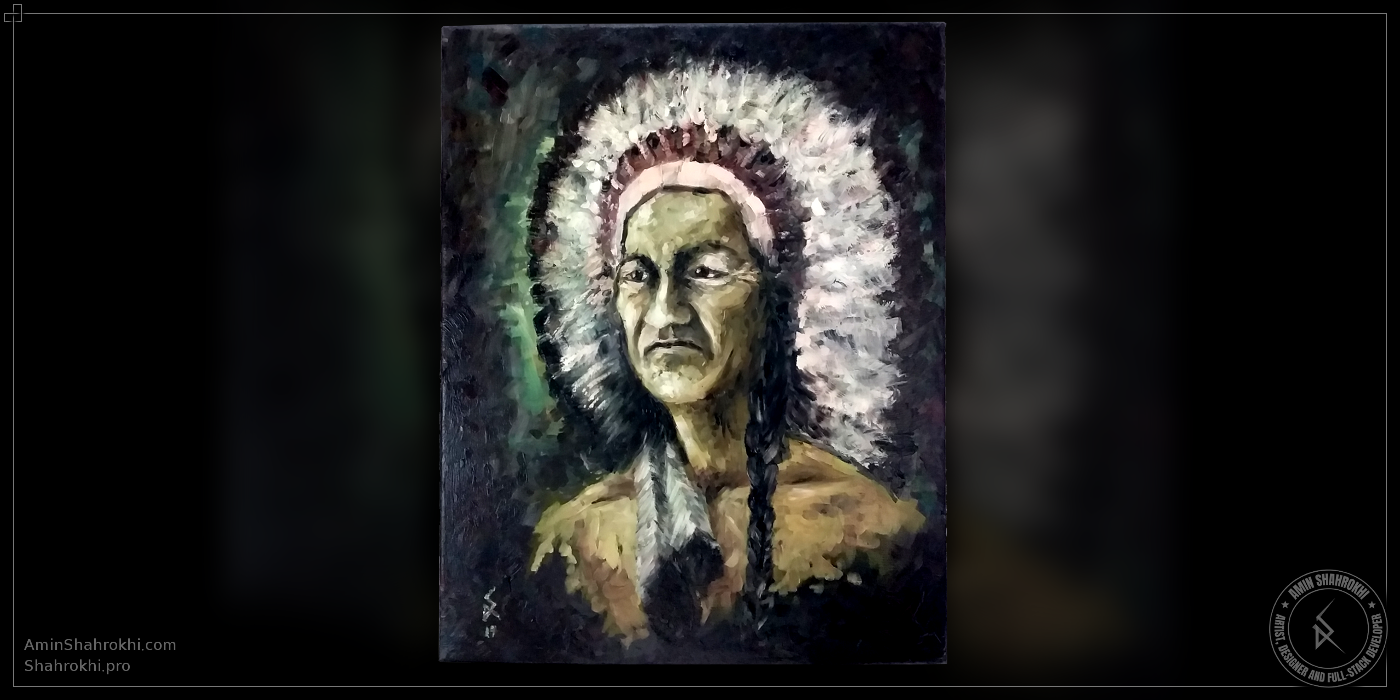 Oil Color Painting of a Native American