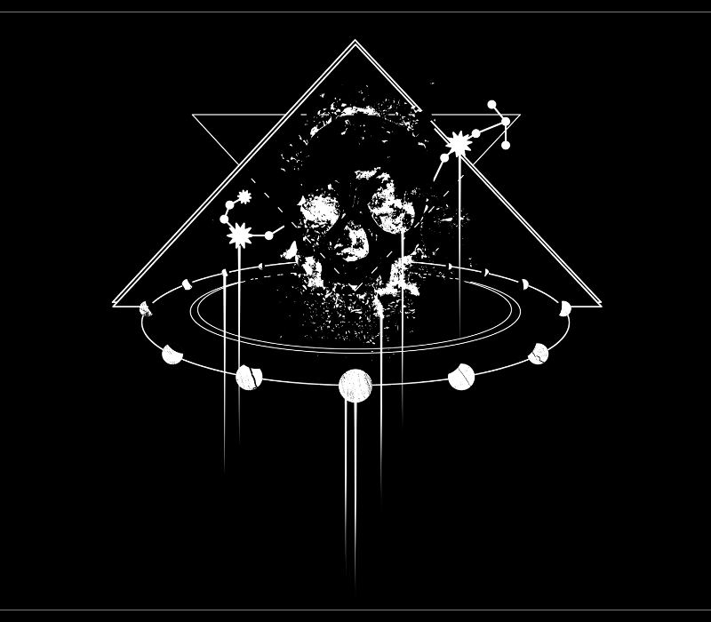 Moon cycle graphic design for t-shirts