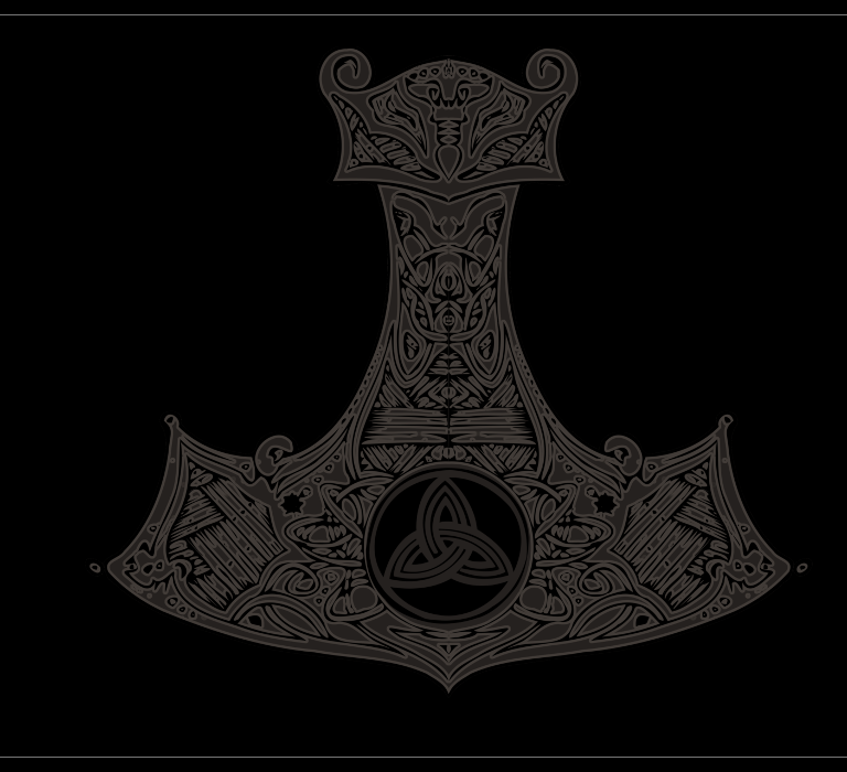 Thor Hammer Drawing for T-Shirts