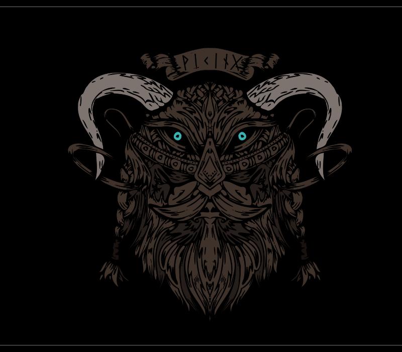 Handmade Drawing of Viking for T-Shirt
