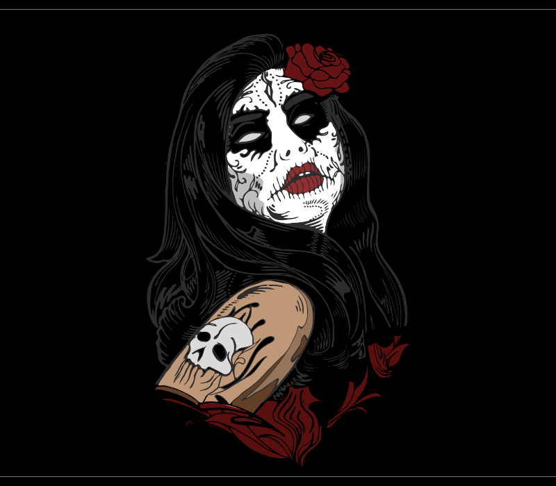 Santa Muerte handmade drawing for shirts