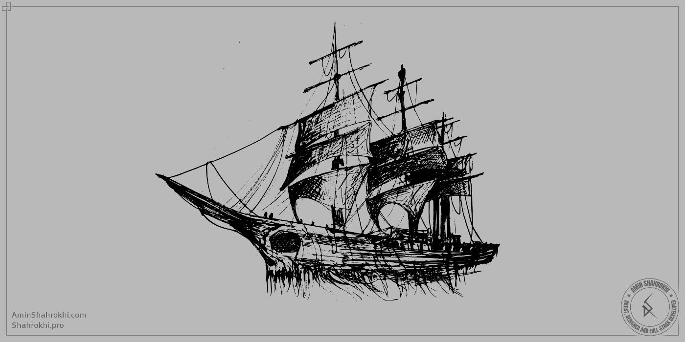 Ghost ship handmade drawing