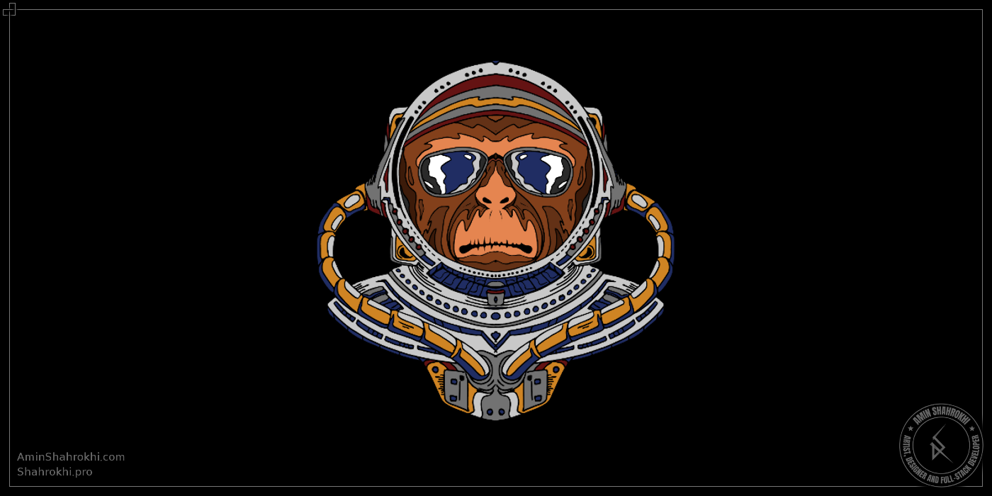 Monkey astronaut drawing for tshirts