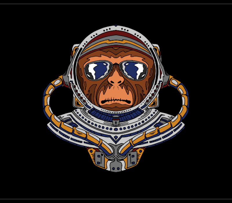 Monkey astronaut drawing for tshirts