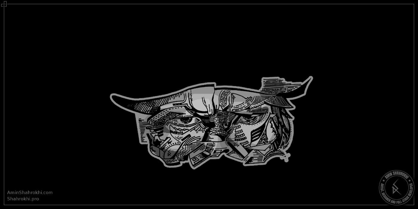 Cowboy line art drawing for shirts