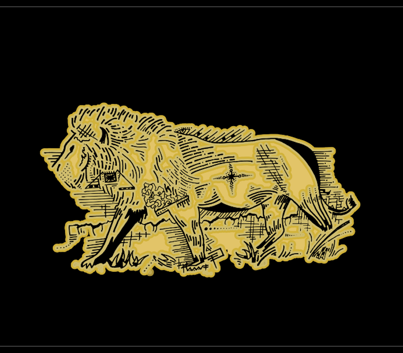 Line art lion for t-shirts
